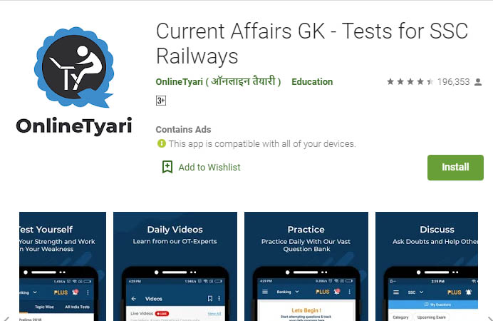 Current Affairs App -Current Affairs GK - Tests for SSC Railways