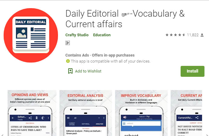 Current Affairs App - Daily Editorial Vocabulary & Current affairs