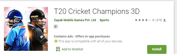 Cricket Games For Android Mobile t20 cricket champions 3d